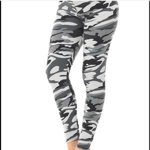 Gray Camouflage High Waisted Leggings